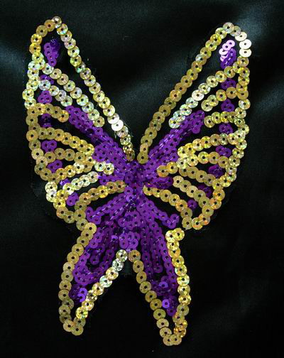 VA20 Purple Gold Butterfly Hologram Sequin Venise Applique 2pcs