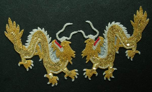 AN01 Mirror Oriental Dragon Sequin Bead Applique Art of Handmade