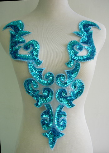 BD03-2 Large Aqua Bodice Sequined Beaded Applique