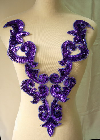 BD03-5 Large Purple Bodice Sequined Beaded Applique