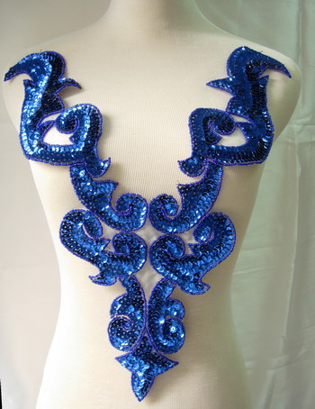 BD03-6 Large Royal Blue Bodice Sequined Beaded Applique