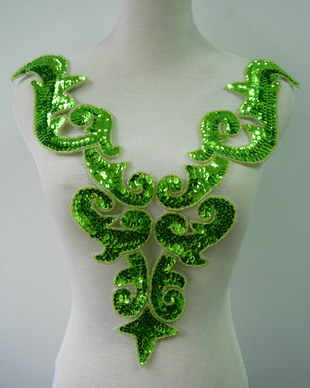 BD03-8 Large Lime Bodice Sequined Beaded Applique Belly Dance