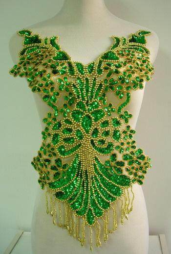 BD08-2 Pretty Bodice Sequin Bead Applique Fringe Green