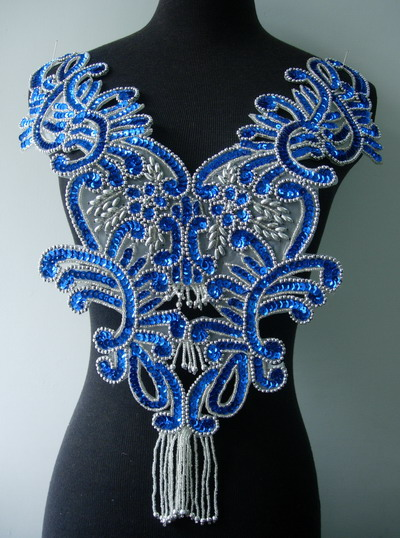 BD13-3 Floral Fringed Bodice Sequin Beaded Applique Blue