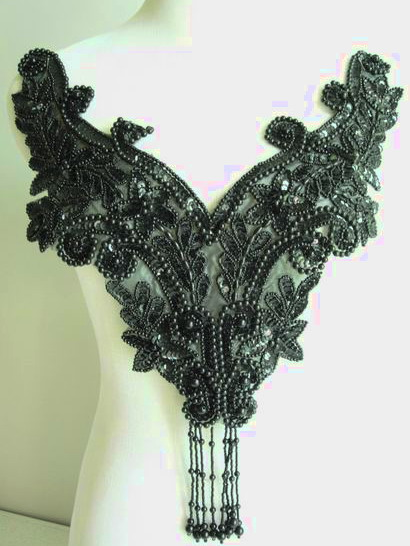 BD19 Sequin Bead Applique w/ Fringe Floral Bodice Black
