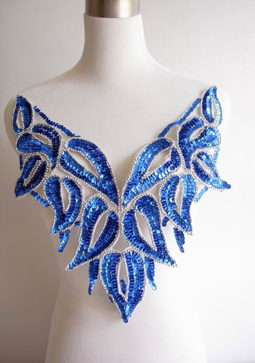 BD25 Sequin Bodice Applique Motif BellyDance Tutu Skating Blue