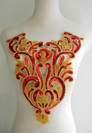 BD41 Floral Bodice Sequin Bead Applique Red Belly Dance