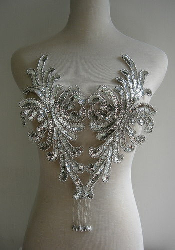 BD43 Fringed Bodice Sequin Bead Applique Silver Belly Dance