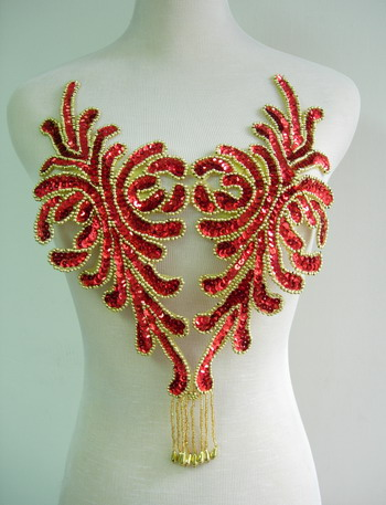 BD45 Fringed Bodice Sequin Bead Applique Red Belly Dance
