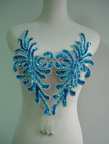 BD46 Fringed Bodice Sequin Bead Applique Aqua Belly Dance