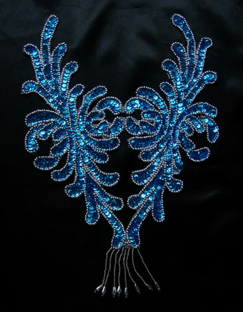 BD46 Fringed Bodice Sequin Beaded Applique Motif Aqua Dancewear//Samba//Tutu