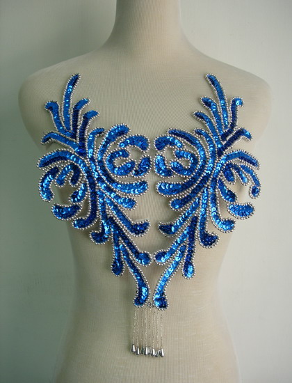 BD47-3 Fringed Bodice Sequin Bead Applique Royal Blue Dancewear