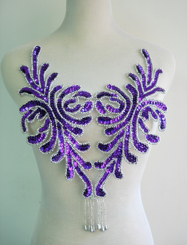BD47-6 Fringed Bodice Sequin Bead Applique Purple Dancewear