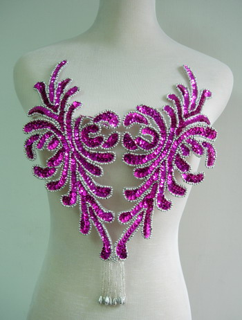 BD47 Fringed Bodice Sequin Bead Applique Fuchsia Belly Dance