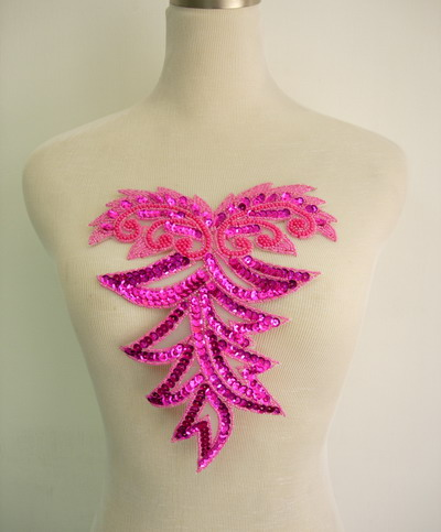 BD48 Fuchsia Sequin Bead Applique Bodice Collar Unique Design