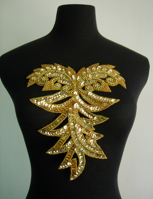 BD49 Gold Sequin Bead Applique Bodice Collar Unique Design