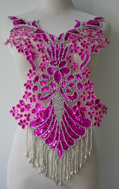 BD08-7 Fringed Bodice Sequin Bead Applique Vegas Showgirl Outfit