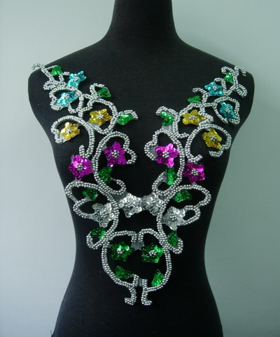 BD53-4 Sequined Beaded Applique Bodice Multicolors