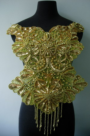 BD55 Elegant Bodice Sequin Beaded Applique Gold Designer