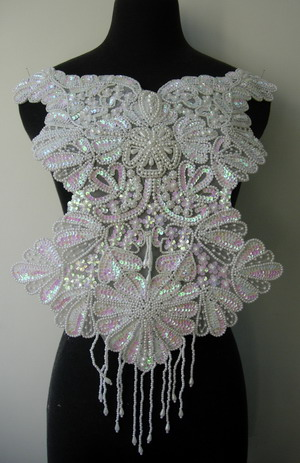 BD57 Elegant Bodice Sequin Beaded Applique White Iris Dancewear