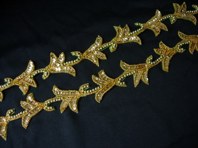 BN02-4 Mirror Pair Leaf Sequin Beaded Applique Banding Gold 39""