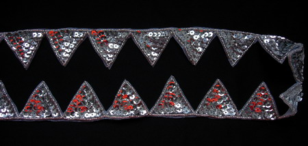 BN06-2 Silver Triangle Sequin Bead Applique Motif Banding 1yd