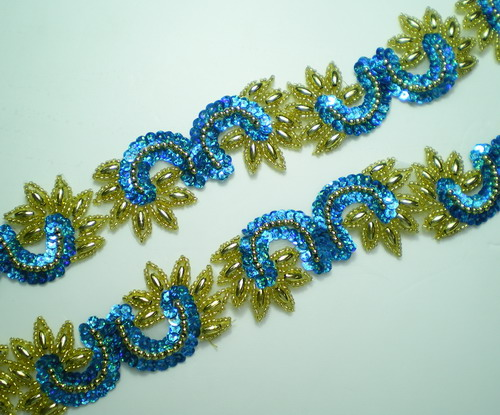 BN11-2 Aqua LR Sequin Bead Applique Banding Trimming Lace 39""