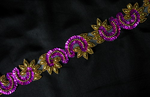 BN11 Fuchsia LR Sequin Bead Applique Banding Trimming Lace 39""