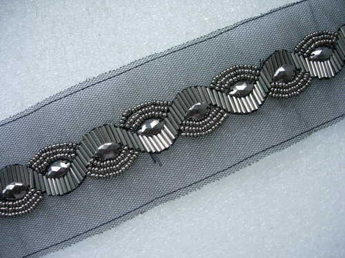 "BN110 1"" METALLIC BEAD BUGLE STUD TRIMMING BANDING 1YARD"