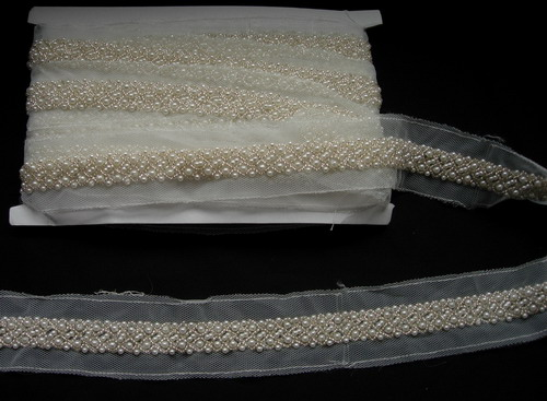 "BN111 6/8"" Pearl Bead Beaded Trim Banding 1Yard"