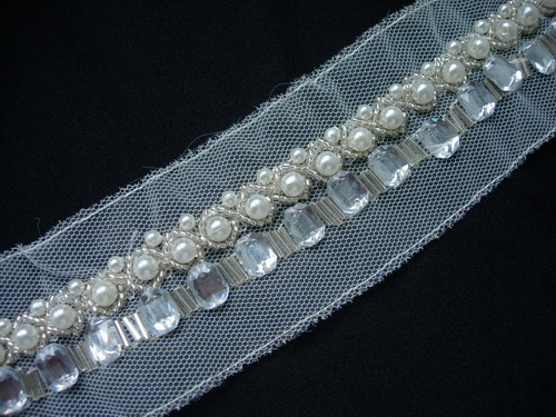 "BN112 7/8"" Gemstone Pearl Bead Bugle Beaded Trim Banding 1Yard"