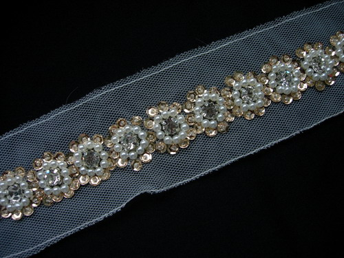 "BN113 7/8"" Diamante Pearl Bead Sequin Beaded Trim Banding 1Yard"