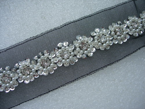 "BN114 7/8"" Diamante Pearl Bead Sequin Beaded Trim Banding 1Yard"