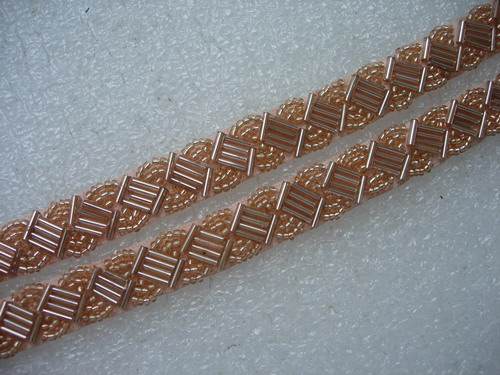 "BN115 1/2"" Bugle Bead Beaded Trim Banding Champagne 1Yard"