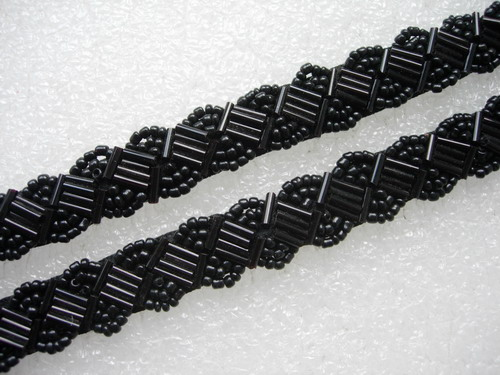 "BN116-2 1/2"" Bugle Bead Beaded Trim Banding Metallic Black 1Yard"
