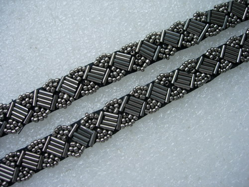 "BN116 1/2"" Bugle Bead Beaded Trim Banding Metallic Grey 1Yard"