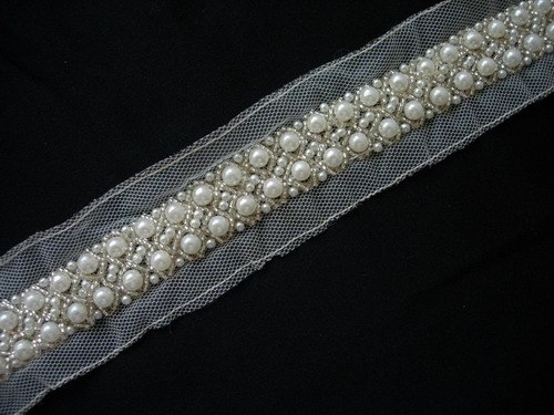 "BN117 7/8"" Pearl Bead Beaded Trim Edge Banding 1Yard"
