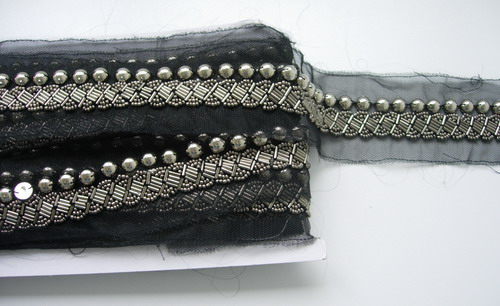"BN121 1"" Beaded Bugle Bead Tulle Trim Banding Silver 1Y"