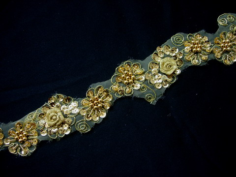 "BN122 1 6/8"" 3D Flowers Sequined Beaded Trim Banding Gold 1Y"