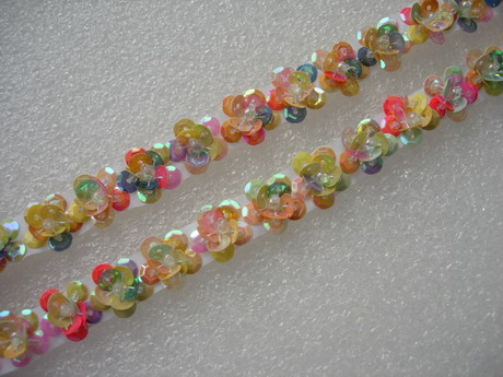 "BN126 5/8"" Rainbow Little Flower Sequin Bead Banding Applique 30"
