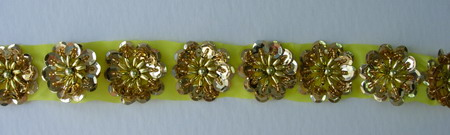 BN13 Gold Sequin Bead Flower Applique Banding Flower Motif 10pcs