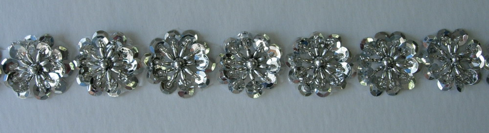 BN14 Silver Flower Sequin Bead Applique Banding Motif 10pcs