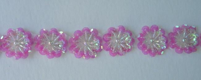 BN19 Clear Fuchsia Flower Sequin Bead Applique Motif 10pcs