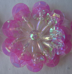 clear fuchsia sequin flower