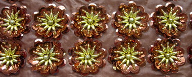 BN20-9 Brown Flowers Sequin Bead Applique Banding 10pcs