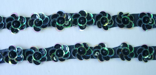 BN23 Black Green Mini Pearl Flower Sequin Applique Banding 40pc