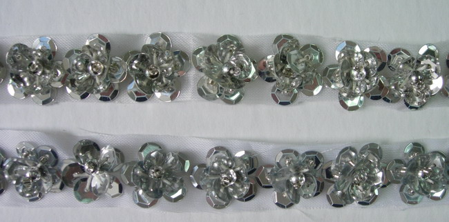 BN27 Silver Mini Flower Sequin Bead Applique Banding 60pcs