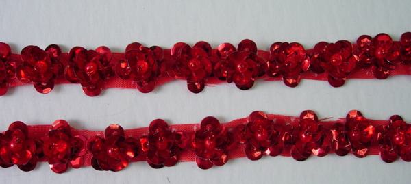 BN34 Red Mini Flower Sequin Bead Applique Banding 60pcs