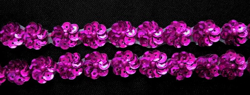 BN41 Fuchsia Mini Sequin Flower Applique Banding 60pcs