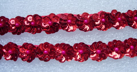 BN42-2 Miniature Flower Sequin Bead Applique Banding Red 60pcs
